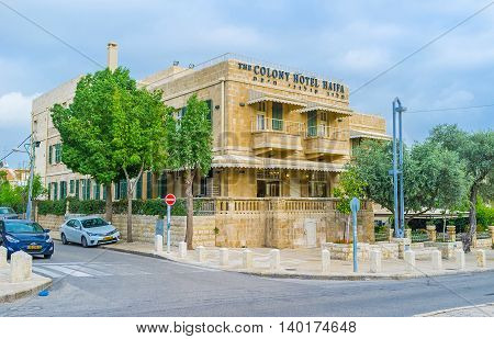 HAIFA ISRAEL - FEBRUARY 20 2016: The German Colony neighborhood is the perfect place for tourists with numerous hotels restaurants cafes and stores on February 20 in Haifa.