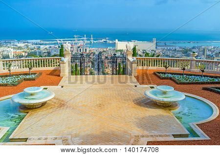 The terrace of Bahai Garden is the best place to overlook Haifa districts located at the foot of Carmel Mount Israel.