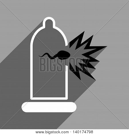 Sperm Escape from Condom long shadow vector icon. Style is a flat sperm escape from condom black and white iconic symbol on a gray square background.