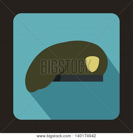 Army beret icon in flat style with long shadow