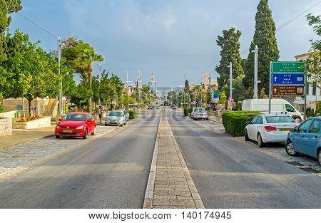 HAIFA ISRAEL - FEBRUARY 20 2016: The Ben Gurion Boulevard connects the Mount Carmel with the seaside district on February 20 in Haifa.