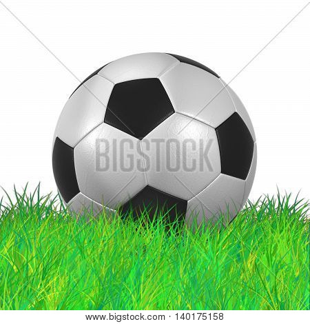 leather Soccer Ball on Grassl high resolution isolated on a white background 3D illustration