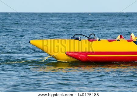 Empty water banana in sea water attraction