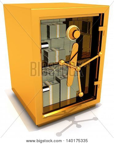 Safe money with transparent door 3D illustration