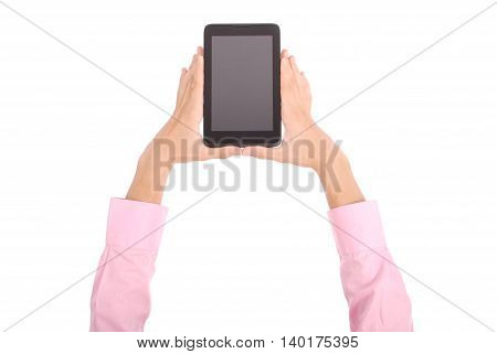 Man holding both hands tablet PC isolated on white
