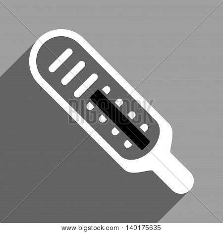 Thermometer long shadow vector icon. Style is a flat thermometer black and white iconic symbol on a gray square background.