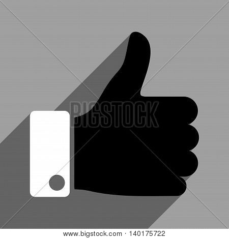 Thumb Up long shadow vector icon. Style is a flat thumb up black and white iconic symbol on a gray square background.