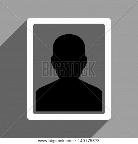 User Portrait long shadow vector icon. Style is a flat user portrait black and white iconic symbol on a gray square background.