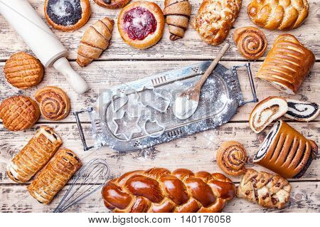 Delicious Holiday Baking Background With Ingredients And Utensils