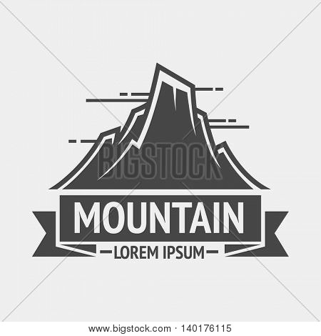 Mountain exploration vintage logo, emblem or silhouette. Logotype template and badge with mountains. Vector Illustration.