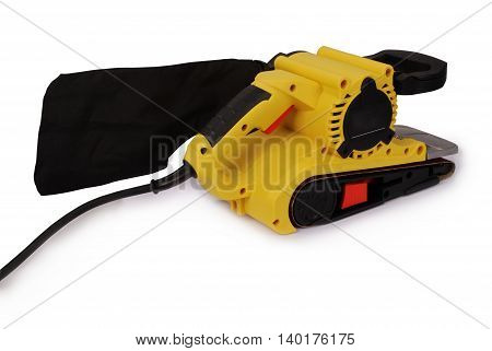 Electrical sanding machine isolated on white background. Closeup with clipping path