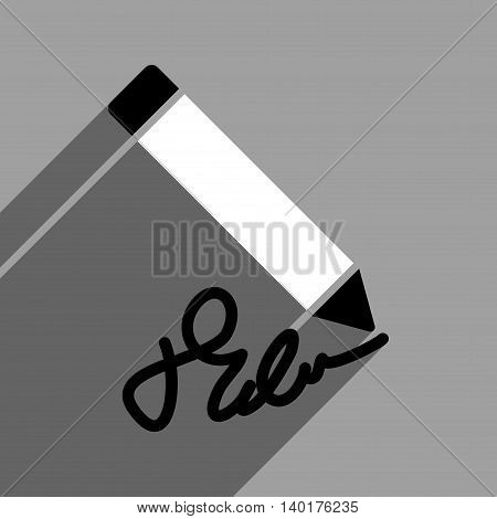 Writing Pencil long shadow vector icon. Style is a flat writing pencil black and white iconic symbol on a gray square background.