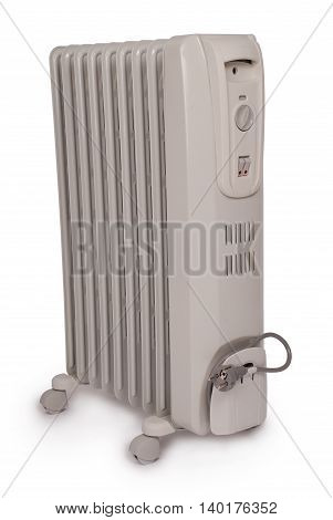 Electric oil heater isolated on white background. Clipping path included