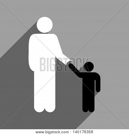 Father With Son long shadow vector icon. Style is a flat father with son black and white iconic symbol on a gray square background.