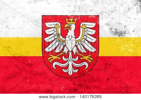 Flag Of Lesser Poland Voivodeship With Coat Of Arms, Poland, Wit