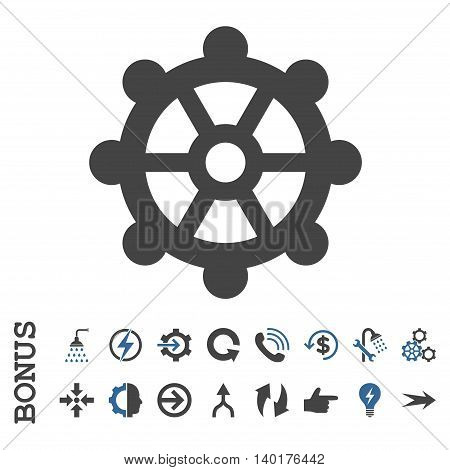 Gear vector bicolor icon. Image style is a flat pictogram symbol, cobalt and gray colors, white background.