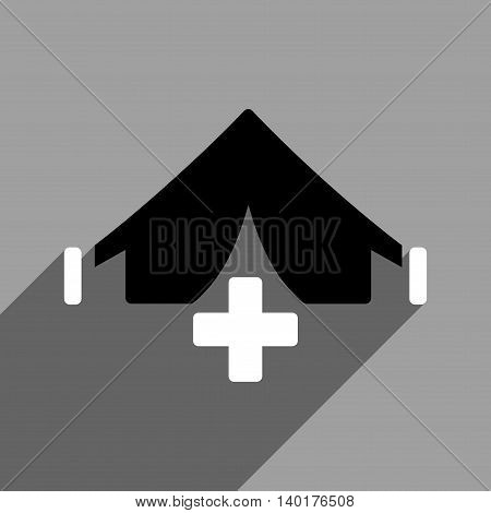 Filed Hospital long shadow vector icon. Style is a flat filed hospital black and white iconic symbol on a gray square background.