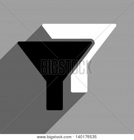 Filters long shadow vector icon. Style is a flat filters black and white iconic symbol on a gray square background.