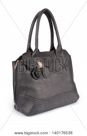 Black leather handbag isolated on white with path