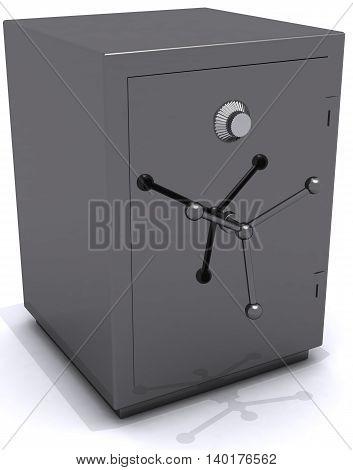 gray metal safe closed 3D illustration finance