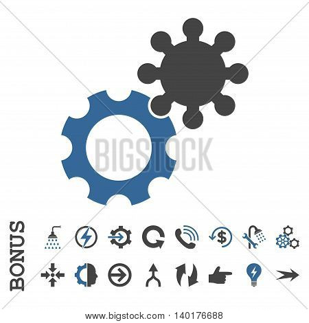 Gears vector bicolor icon. Image style is a flat iconic symbol, cobalt and gray colors, white background.