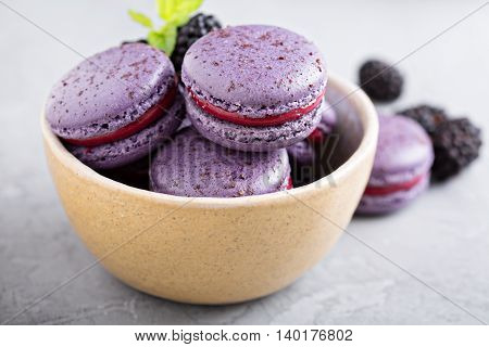 French macarons with berry filling in a bowl