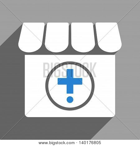 Drugstore long shadow vector icon. Style is a flat drugstore white iconic symbol on a gray square background.