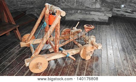 Small model of wooden war machine - catapult