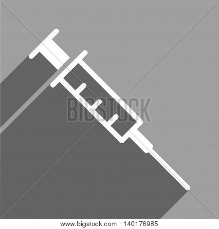Empty Syringe long shadow vector icon. Style is a flat empty syringe white iconic symbol on a gray square background.