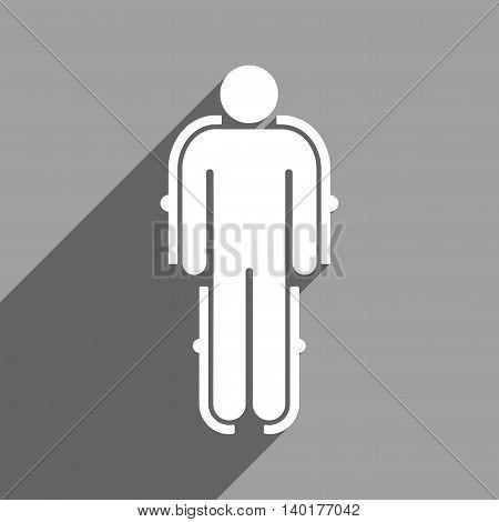 Exoskeleton long shadow vector icon. Style is a flat exoskeleton white iconic symbol on a gray square background.