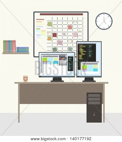 Programmer working place with two monitors. Full stack or Front end or Back end web developer. White task board hanging in a team room full of tasks on sticky note cards. Planning and Organizing