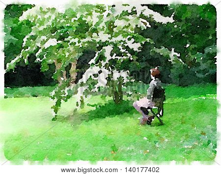 Digital watercolor painting of a lady sitting on a chair under a tree with white flowers by a moss covered green pond. With space for text.