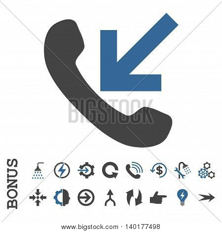 Incoming Call vector bicolor icon. Image style is a flat pictogram symbol, cobalt and gray colors, white background.