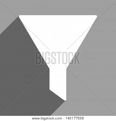 Filter long shadow vector icon. Style is a flat filter white iconic symbol on a gray square background.