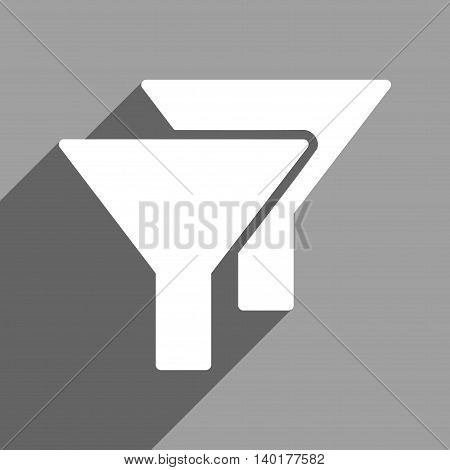 Filters long shadow vector icon. Style is a flat filters white iconic symbol on a gray square background.