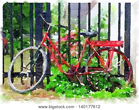 Digital watercolour painting of a ladies red Dutch bicycle leaning against a gate with plants.