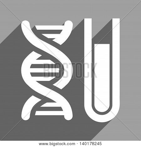 Genetic Analysis long shadow vector icon. Style is a flat genetic analysis white iconic symbol on a gray square background.