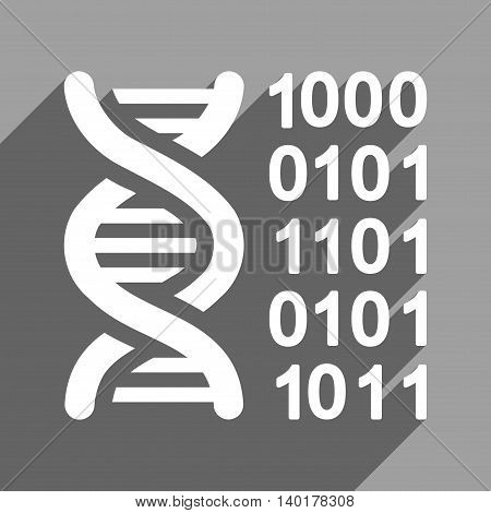 Genetical Code long shadow vector icon. Style is a flat genetical code white iconic symbol on a gray square background.