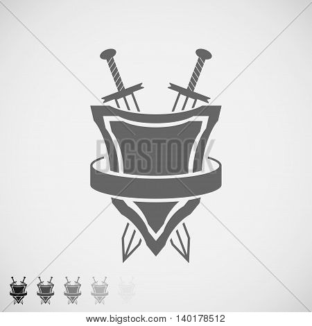 shield and swords icon round belt. Vector Illustration