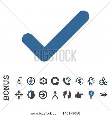 Ok vector bicolor icon. Image style is a flat iconic symbol, cobalt and gray colors, white background.