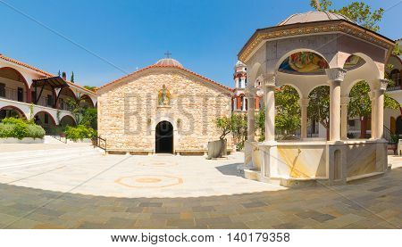 Evia, Greece 25 July 2016. Panoramic view of the famous monastery of Saint David at Evia.