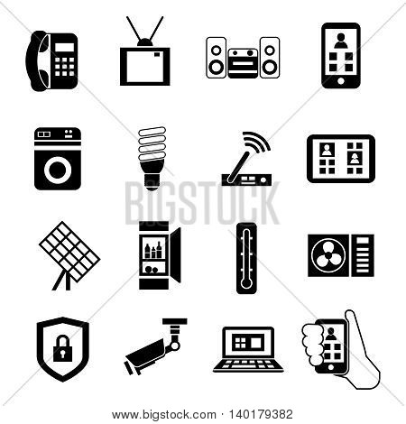 Smart home isolated black icon set with innovative technologies in a house vector illustration