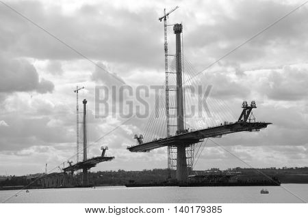 A view of the construction of the new Forth bridge