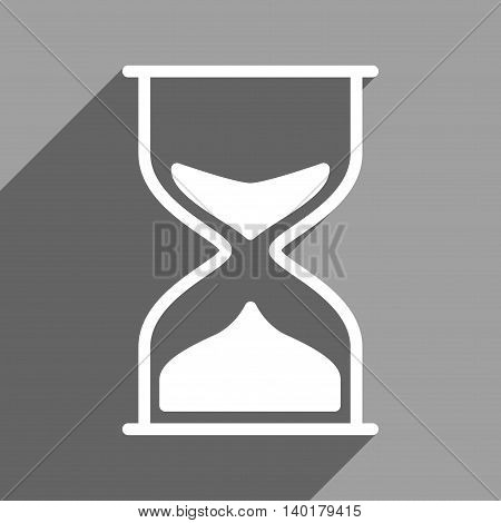 Hourglass long shadow vector icon. Style is a flat hourglass white iconic symbol on a gray square background.