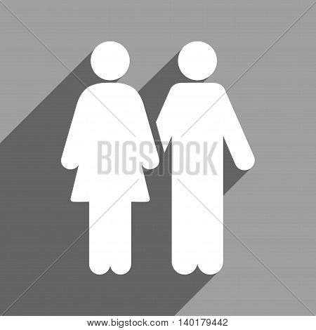 Human Couple long shadow vector icon. Style is a flat human couple white iconic symbol on a gray square background.