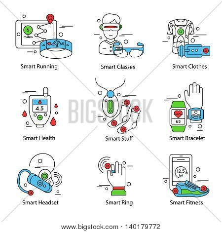 Smart technology line icon set with running glasses clothes health bracelet headset descriptions vector illustration