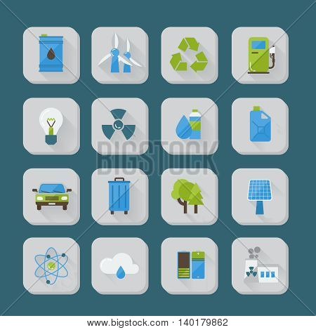 Ecology flat icons set with recycling sign green energy  industrial pollution on blue background isolated vector illustration