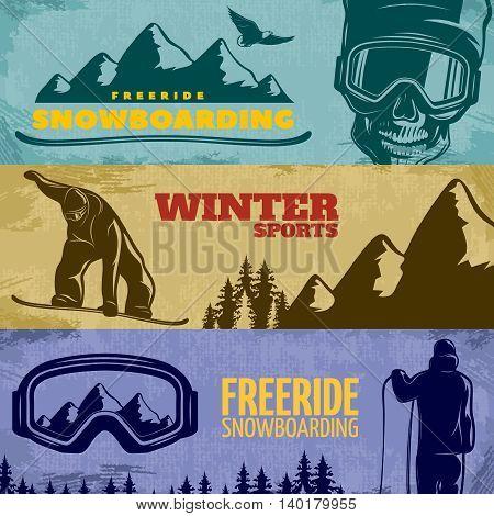 Three horizontal snowboarding banner set with freeride snowboarding winter sports descriptions vector illustration