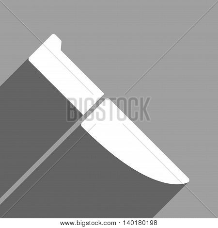 Knife long shadow vector icon. Style is a flat knife white iconic symbol on a gray square background.