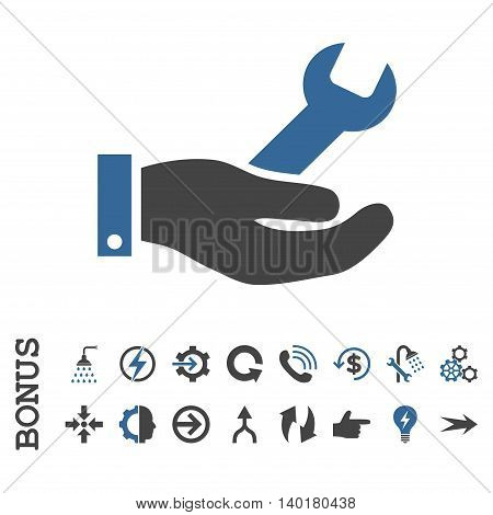 Repair Service vector bicolor icon. Image style is a flat pictogram symbol, cobalt and gray colors, white background.
